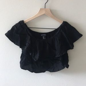 Forever 21 Off-the-shoulder Ruffled Crop Top